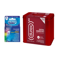 Durex RED Condom Extra Sensitive (42 count) and Durex Pleasure Pack Assorted Condoms (3 Count), Natural Latex 1 ea [191567296132]