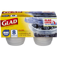 Glad Mini Round BPA- Free 4 oz Containers 8 ea [012587702406]