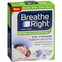 Breathe Right Nasal Strips, Extra Clear for Sensitive Skin 26 ea [757145241958]