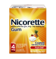 Nicorette 4 mg Nicotine Gum, Fruit Chill 100 ea [307667857603]