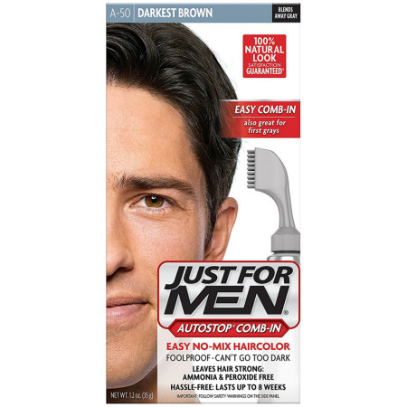 JUST FOR MEN AutoStop Haircolor, Darkest Brown A-50 1 ea [011509043191]