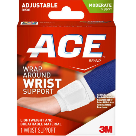 ACE Adjustable Wrap Around Wrist Brace, Moderate Support, One Size 1 Each [051131203846]