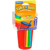 The First Years Take & Toss 10 oz Spill-Proof Straw Cups, Assorted Colors 4 ea [071463011575]