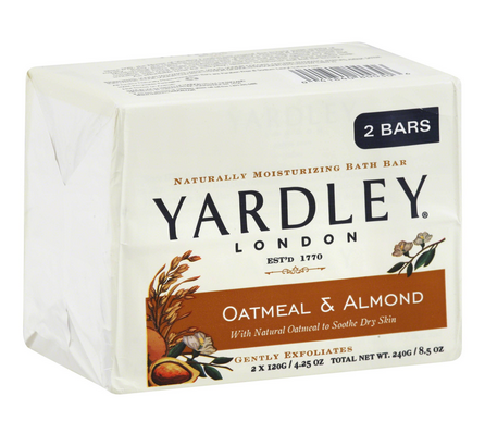 Yardley London Moisturizing Bars Oatmeal & Almond - 2 pack, 4.25 oz bars [041840800306]