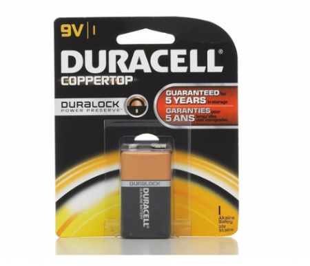 Duracell Coppertop 9V Alkaline Battery 1 Each [041333116013]