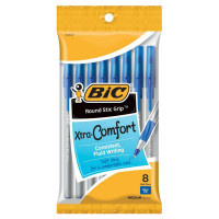 Bic Xtra-Comfort Ultra Round Stic Grip Ball Pen, Medium Point, Blue 8 ea [070330137271]