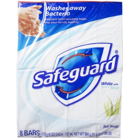 Safeguard Antibacterial Soap, White with Aloe, 4 oz bars, 8 ea [037000218555]