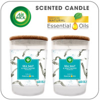 Air Wick Scented Candles with Essential Oils, Aromatherapy Candles Jar, Sea Salt & Driftwood,up to 70 hours burn time per 2 pack, 2x6.52oz 1 ea [006233801927]