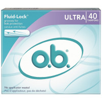 o.b. Fluid-Lock Non-Applicator Tampons, Ultra 40 ea [078300070122]