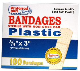 Bandages Plastic Adhesive, Sterile w/ Non-Stick Pads, 3/4 Inch x 3 Inches 100 ea [616784368689]