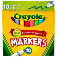Crayola Broad Line Markers, Assorted Colors 10 ea [071662077259]
