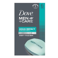 Dove Men + Care Body & Face Bar, Aqua Impact 4 oz, 6 ea [011111266650]