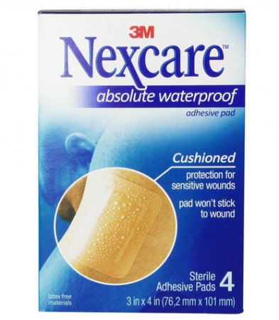 Nexcare  Absolute Waterproof Adhesive Gauze Pad 3 Inches x 4 Inches, 4 ea [051131197732]