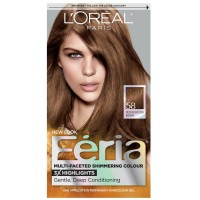 L'Oreal Feria Permanent Haircolor Gel, 58 Bronze Shimmer (Medium Golden Brown) 1 ea [071249230091]