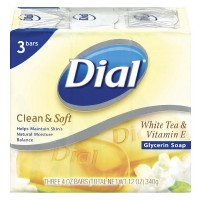 Dial Clean & Soft Glycerin Bar Soap, White Tea & Vitamin E, 4 oz bars, 3 ea [017000027555]