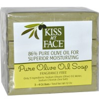 Kiss My Face Pure Olive Oil Bar Soap, 4 oz bars, 3 ea [028367840855]