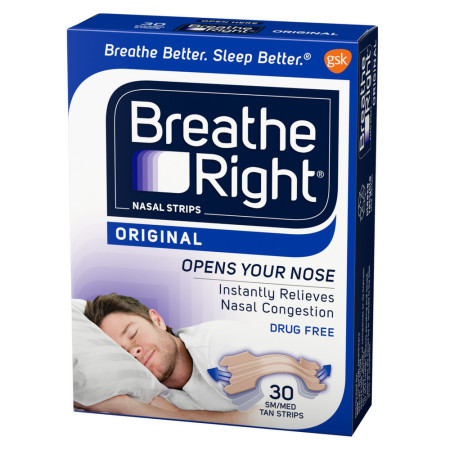 Breathe Right Nasal Strips Original Tan Small/Medium 30 ea [757145001224]