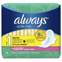 Always Ultra Thin Pads with Flexi-Wings, Size 1, Regular, Clean Scent 16 ea [037000029236]