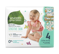 Seventh Generation Baby Diapers, Free & Clear for Sensitive Skin, Size 4, 27 ea [732913440634]