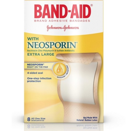 BAND-AID Plus Antibiotic Bandages Extra Large All One Size 8 Each [381370055679]
