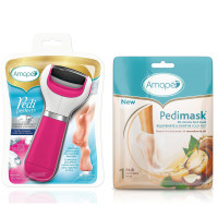 Amope  Pedi Perfect Electronic Foot File, Extra Coarse with Amope Pedimask Foot Sock Mask, 1 Pair, Macadamia Oil Essence 1 ea [191567596416]