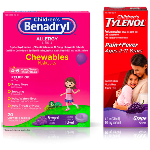 Benadryl Children Allergy Relief Chewables, Grape Flavored 20 ea &  Children's Tylenol Oral Suspension, Fever Reducer & Pain Reliever, Grape 4  oz 1 ea