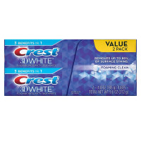 Crest 3D White Foaming Clean Toothpaste, 2 ea [037000948117]