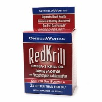 OmegaWorks Red Krill Omega-3 Krill Oil 300 mg Softgels Dietary Supplement 60 Soft Gels [035046078553]