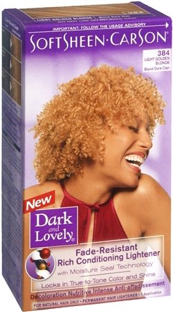 Dark and Lovely Permanent Hair Lightener 384 Light Golden Blonde 1 Each [072790003844]