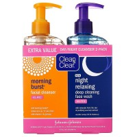 CLEAN & CLEAR Morning Burst/Night Relaxing Cleansing Face Wash Pack 1 ea [381371161362]
