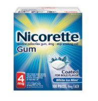 Nicorette 4 mg Nicotine Gum, Coated White Ice Mint 100 ea [307667760002]