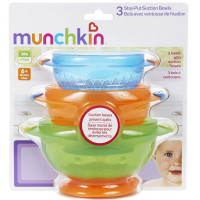 Munchkin Stay-Put Suction Bowls, Assorted Colors 3 ea [735282490033]