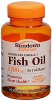 Sundown Naturals Odorless Omega-3 Fish Oil 1200 mg Softgels 60 Soft Gels [030768168872]