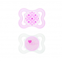 MAM Mini Air Silicone Pacifier, Girl 0-6 Months 2 ea [845296012043]