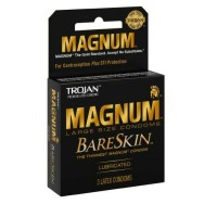 TROJAN Magnum Bareskin Lubricated Condoms 3 ea [022600228882]