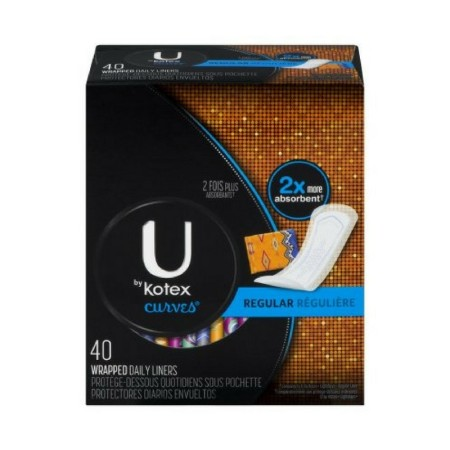 U by Kotex Curves Regular Liners 40 Each [036000424935]