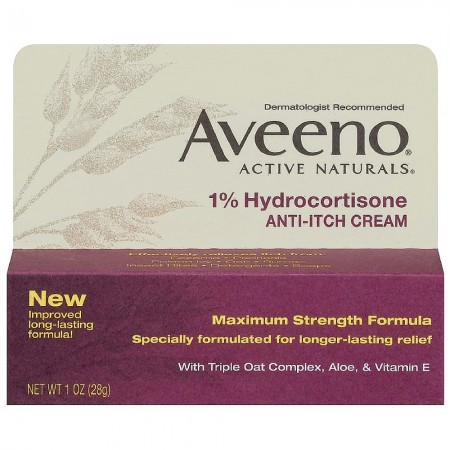 AVEENO Active Naturals 1% Hydrocortisone Anti-Itch Cream 1 oz [381370036586]