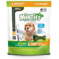 VetIQ Minties Bones Dental Treats for Dogs, Medium Size Dogs 6 ea [818145010507]