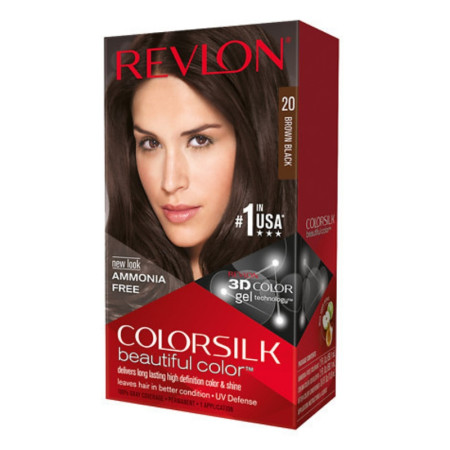 Revlon ColorSilk Hair Color, 20 Brown Black 1 ea [309978695202]