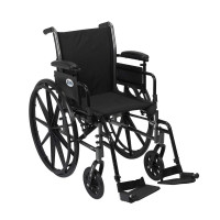 "Drive Medical Cruiser III Light Weight Wheelchair with Various Flip Back Arm Styles and Front Rigging Options, Black, 20""  - 1 ea [822383133195]"