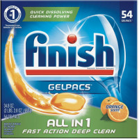 Finish All In 1 Gelpacs Dishwasher Detergent, Orange Scent 54 ea [051700810949]