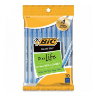 Bic Round Stic Xtra Life Medium Ballpoint Pen, Blue Ink 10 ea [070330201224]