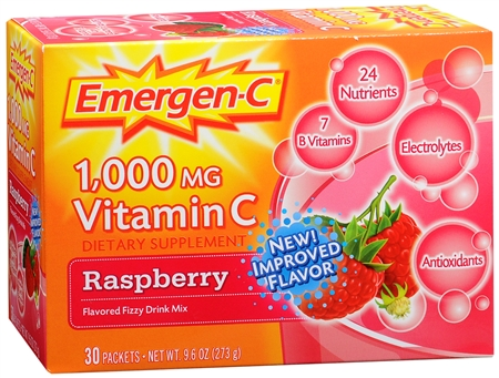Emergen-C Vitamin C Drink Mix Packets Raspberry 30 Each [076314302017]