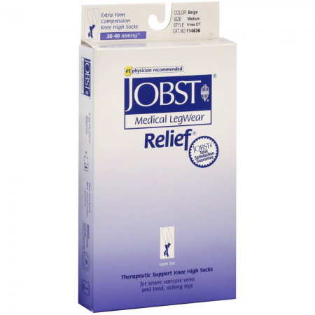 JOBST Relief Knee-High Extra Firm Compression Stockings, Beige, Medium 1 ea [035664146368]