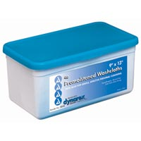 "Dynarex Pre-Moistened Wet Disposable Washcloths W/ Standard Tub, 9""X13""  46 ea [616784131429]"