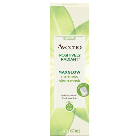 AVEENO Positively Radiant MaxGlow No-Mess Hydrating Sleep Mask with Moisture Rich Soy & Kiwi Complex, Hypoallergenic 1.7  oz [381371180219]