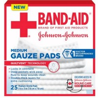 Band-Aid Johnson & Johnson Medium Gauze Pads, 25 Medium Sterile Pads 3 In X 3 In [381371161263]