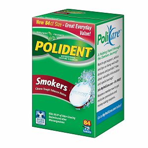 Polident Smokers, Antibacterial Denture Cleanser, Triple Mint Freshness 84 ea [310158320838]