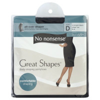 No Nonsense Great Shapes Body Shaping Pantyhose, Size D, Midnight Black 1 ea [070011942989]