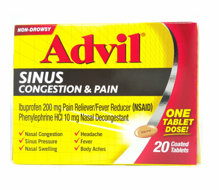 Advil Sinus Congestion & Pain, Coated Tablets 20 ea [305730199216]